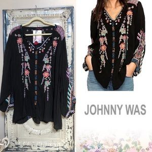 Johnny Was Black Floral Embroidered Tie Top